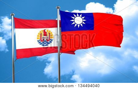 french polynesia flag with Taiwan flag, 3D rendering