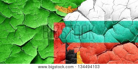 Zambia flag with Bulgaria flag on a grunge cracked wall