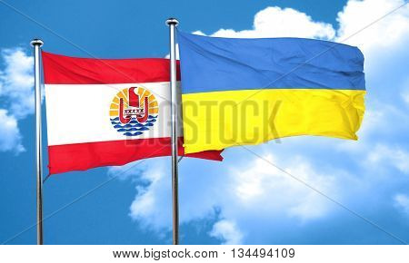 french polynesia flag with Ukraine flag, 3D rendering