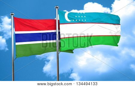 Gambia flag with Uzbekistan flag, 3D rendering