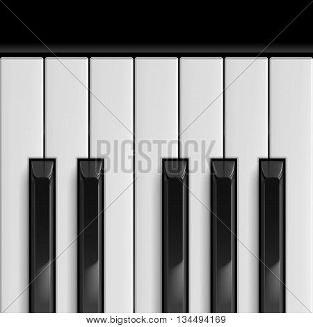 Black and White Big Piano Keys. Illustration for Templates Icons