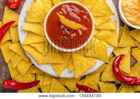 Tortilla Chips With Two Dips
