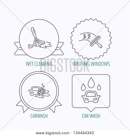 Car wash icons. Automatic cleaning station linear signs. Washing windows, wet cleaning and foam bucket flat line icons. Award medal, star label and speech bubble designs. Vector