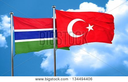 Gambia flag with Turkey flag, 3D rendering