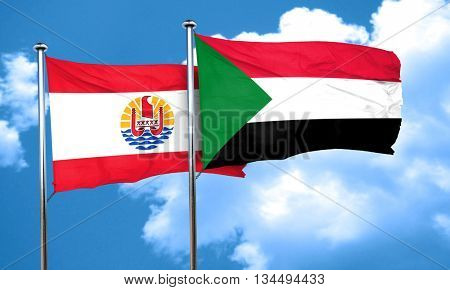 french polynesia flag with Sudan flag, 3D rendering