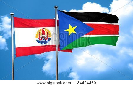 french polynesia flag with South Sudan flag, 3D rendering