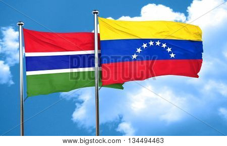 Gambia flag with Venezuela flag, 3D rendering