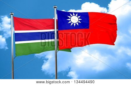 Gambia flag with Taiwan flag, 3D rendering