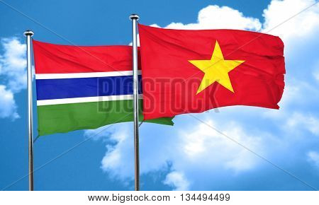 Gambia flag with Vietnam flag, 3D rendering