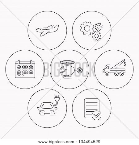 Electric car, airplane and helicopter icons. Evacuator linear sign. Check file, calendar and cogwheel icons. Vector