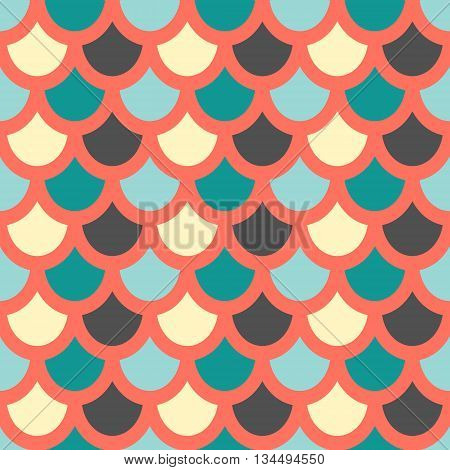 Vector. Fish skin style seamless pattern.. Fish scales pattern. Red background