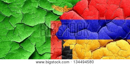 Zambia flag with Armenia flag on a grunge cracked wall