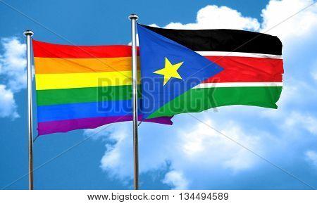 Gay pride flag with South Sudan flag, 3D rendering