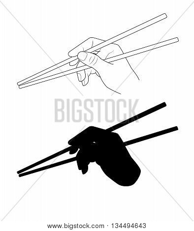 Vector. A hand holding chopsticks. Oriental cuisine. Isolated illustration of japanese korean chinese chopsticks for noodles sushi rice and other eastern food. Chopsticks silhouette.