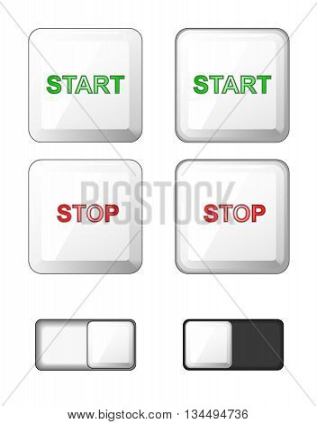 Vector. Set of isolated white square buttons. Plastic buttons icons for internet: start button stop button slider bar -slide button-. Green red. Plus pushed buttons.