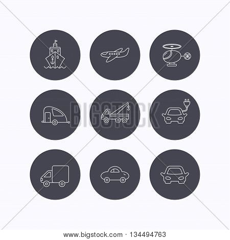 Transportation icons. Car, ship and truck linear signs. Airplane, helicopter and evacuator flat line icons. Flat icons in circle buttons on white background. Vector