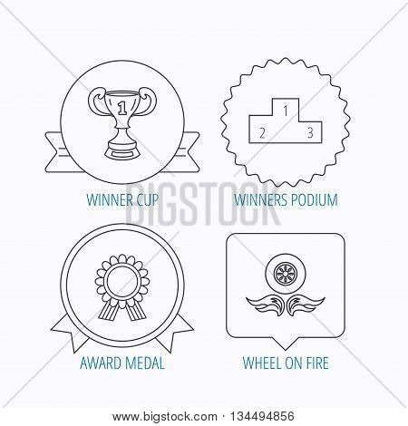 Winner cup, podium and award medal icons. Race symbol, wheel on fire linear signs. Award medal, star label and speech bubble designs. Vector