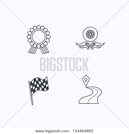 Winner award medal, destination and flag icons. Race flag, wheel on fire linear signs. Flat linear icons on white background. Vector