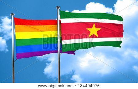 Gay pride flag with Suriname flag, 3D rendering
