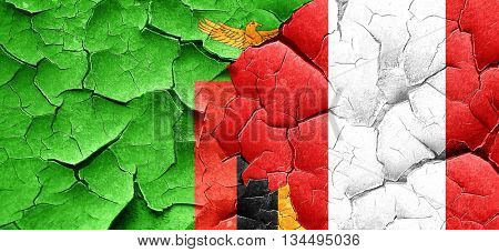 Zambia flag with Peru flag on a grunge cracked wall