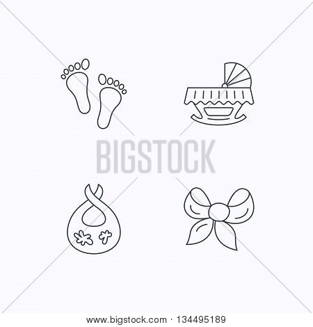 Footprint, cradle and dirty bib icons. Bow linear sign. Flat linear icons on white background. Vector