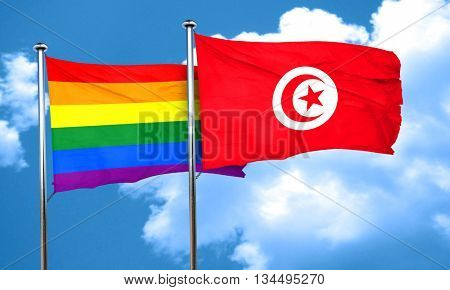 Gay pride flag with Tunisia flag, 3D rendering