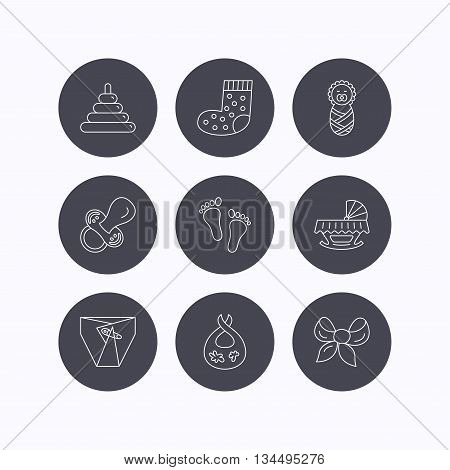 Pacifier, diapers and newborn icons. Footprint, socks and dirty bib linear signs. Pyramid toy, cradle bed flat line icons. Flat icons in circle buttons on white background. Vector