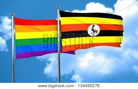 Gay pride flag with Uganda flag, 3D rendering