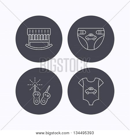 Newborn clothes, diapers and sleep cradle icons. Radio monitoring linear sign. Flat icons in circle buttons on white background. Vector