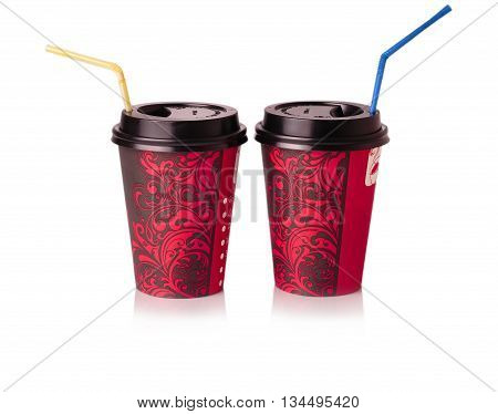 red paper Cups to drink with straw on a white background