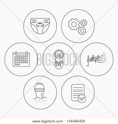 Diapers, newborn baby and songs for kids icons. Beach bucket linear sign. Check file, calendar and cogwheel icons. Vector