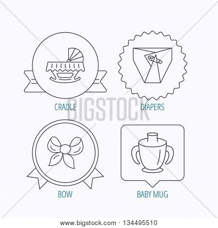 Baby mug, diapers and cradle bed icons. Bow linear sign. Award medal, star label and speech bubble designs. Vector