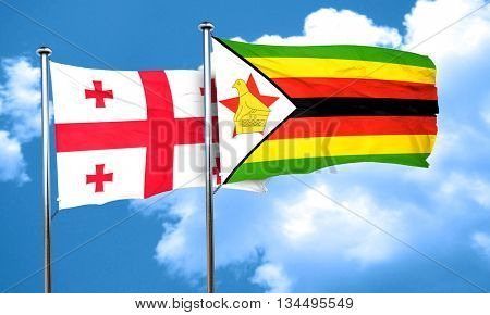 Georgia flag with Zimbabwe flag, 3D rendering
