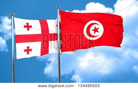Georgia flag with Tunisia flag, 3D rendering
