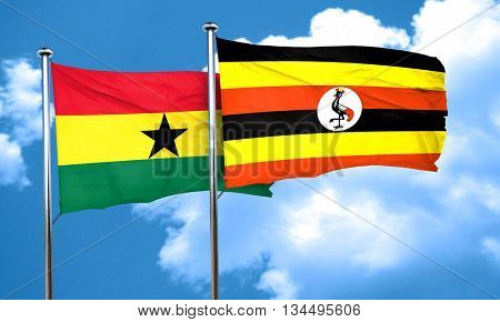 Ghana flag with Uganda flag, 3D rendering
