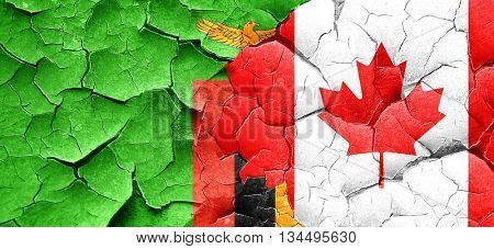 Zambia flag with Canada flag on a grunge cracked wall