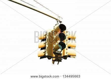 Yellow traffic light in Brooklyn New York isolated on a white background