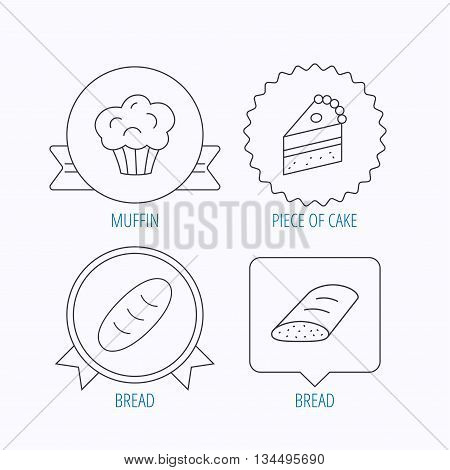 Sweet muffin, cake and bread icons. Piece of cake linear sign. Award medal, star label and speech bubble designs. Vector