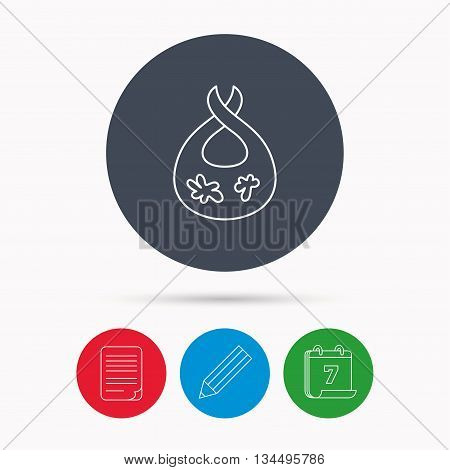 Bib with dirty spots icon. Baby clothes sign. Feeding wear symbol. Calendar, pencil or edit and document file signs. Vector