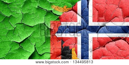 Zambia flag with Norway flag on a grunge cracked wall