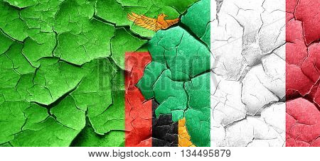 Zambia flag with Italy flag on a grunge cracked wall