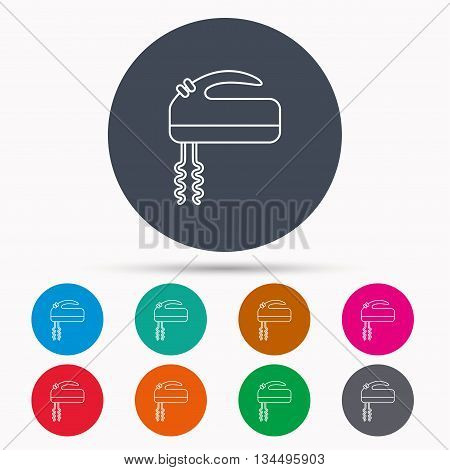 Blender icon. Mixer sign. Icons in colour circle buttons. Vector