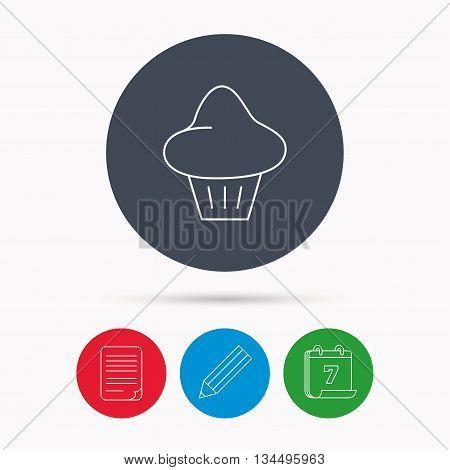 Brioche icon. Bread bun sign. Bakery symbol. Calendar, pencil or edit and document file signs. Vector