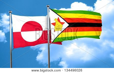 greenland flag with Zimbabwe flag, 3D rendering