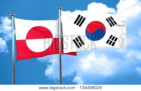 greenland flag with South Korea flag, 3D rendering