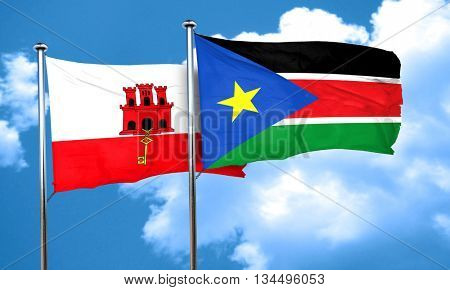 gibraltar flag with South Sudan flag, 3D rendering