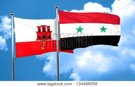 gibraltar flag with Syria flag, 3D rendering