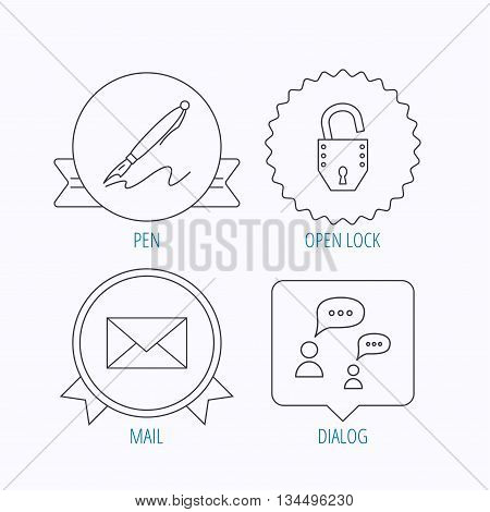 Dialog, mail envelope and open lock icons. Pen linear sign. Award medal, star label and speech bubble designs. Vector