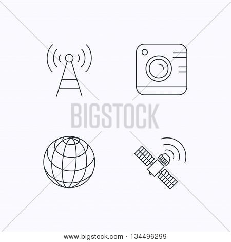 Photo camera, globe and gps satellite icons. Telecommunication station linear sign. Flat linear icons on white background. Vector