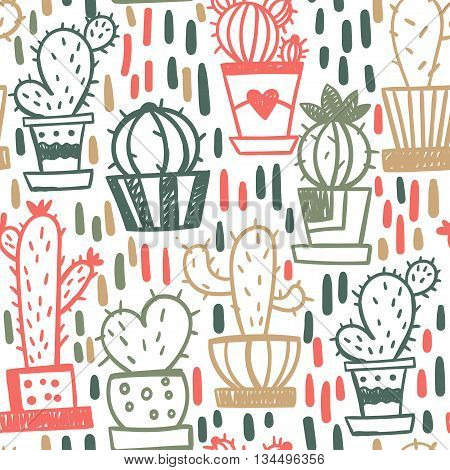 Bright seamless pattern with cartoon cactus in pots. Vector illustration.
